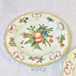 Mottahedeh Duke Of Gloucester Set 4 Dinner Plates Fruit Butterflies 10 1/8d
