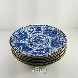 Mottahedeh TORQUAY BLUE GOLDTRIM Dinner Plate Set (7) Sea Shell Winterthur 10.5