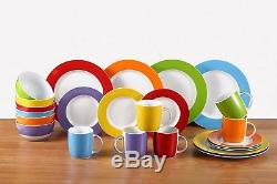 Multi-Coloured Dinner Set 24pcs Plates Bowls Dinnerware Crockery Service for 6