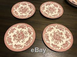 NEW 12 Pc SET ROYAL STAFFORD ASIATIC PHEASANT Pink Red Dinner Plates Bowl Dishes