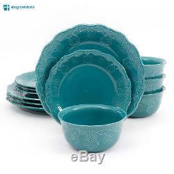 NEW 12 Piece Dinnerware Set Dinner Plates Bowls 4 of each Pioneer Woman TEAL