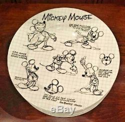 NEW Disney Mickey Mouse 90 Years Sketchbook 10.5 Dinner Plates Set of 8