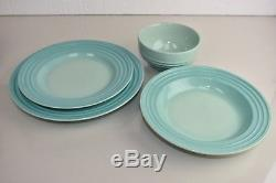 NEW Le Creuset Cool Mint 16 PC for 4 Dinner Salad Plates Soup Pasta Cereal Bowl