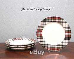 NEW RARE Pottery Barn Holiday DENVER PLAID RIM Dinner Plates SET/4 More Availab