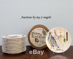 NEW Williams Sonoma 12 TWELVE DAYS OF CHRISTMAS Salad Plates SET/12 RARE Vintage
