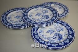 NEW Williams Sonoma AERIN Fairfield Melamine Dinner Plates SET of 8 Blue Floral