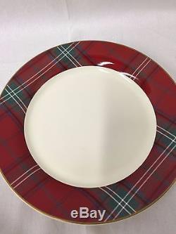 NEW Williams Sonoma Tartan Plaid Dinner Plates Set of 8 Christmas Winter 11