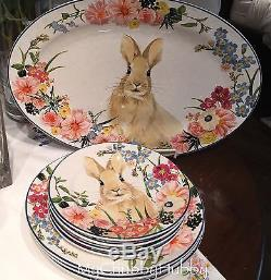 NIB Pottery Barn Set/12 FLORAL BUNNY DINNER Plates EASTER FLORA Rim