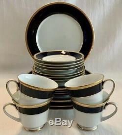 NORITAKE Valhalla Cobalt Blue & Gold SET OF 20 SERVICE 4 Dinner Salad Bread Cups