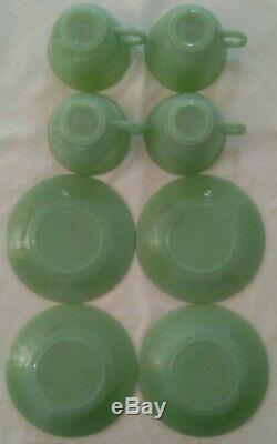NOS sticker Fire King Jadeite 17 piece set 4 ea dinner plates/bowls/cups/saucers