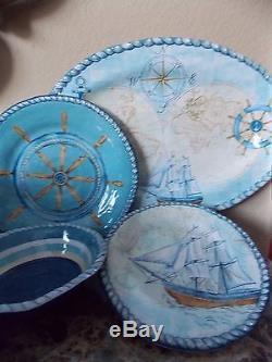 Nautical Sailboats Anchor13 Piece Set Melamine Dinner Salad Plates Platternew