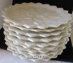 Neiman Marcus Italy Raised Leaf White Dinner Plates Set Of 10