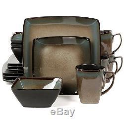 New 16 Piece Square Banquet Dinnerware Plates Dishes Bowls Kitchen Dinner Set
