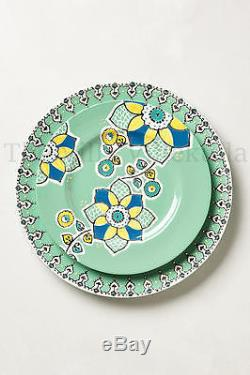 New Anthropologie Elka Bowls, Dinner & Side Plate 6Pc. Set Green Motif Sold Out