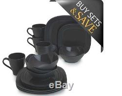 New Casual Dinnerware Sets 16 Piece Square Dinner Plates for Kitchen Bowls