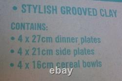 New JAMIE OLIVER Bailey 12Pc Grooved Clay DINNER SET BOXED Stylish MEDITERRANEAN
