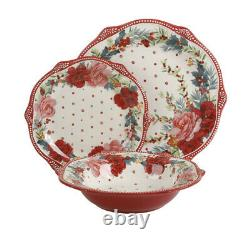 New Pioneer Woman Cheerful Rose 12 Pc Dinnerware Set