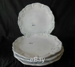 New Set of 4 Vietri Italy Incanto White Lace European 10 1/8 Dinner Plates