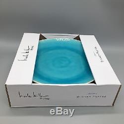 Nicole Miller Home Crackled Glaze Turquoise Aqua Stoneware DINNER PLATES Set 8