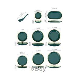 Nine Pieces Dinner Set Glass Dinnerware Dining Plates Green And Gold
