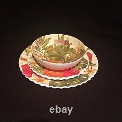 ON SALE Nicole Miller Melamine Tropical Hibiscus Pineapple Dinnerware 21 Pc Set