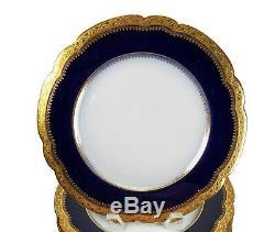 POUYAT Limoges Cobalt Heavy Gold EncrustedJPLSet of 8 Dinner Plates