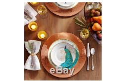 Peacock Garden Dinnerware Set (16-Piece) Plates Dishes Pottery Square Dinner