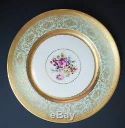 Pickard Edgerton Heinrich Set of Six Green and Gold Dinner Plates