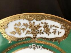 Pirken Hammer Dinner Cabinet Plate Green Gold Encrusted Antique Set of 5 Czech