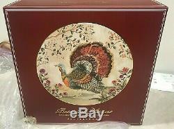 Pottery Barn set 4 Botanical Harvest TURKEY dinner plates holiday Thanksgiving