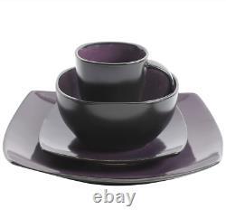 Purple Dinnerware Set Soho Lounge 16-Pce Square Modern Plates Mugs Dishes Bowls