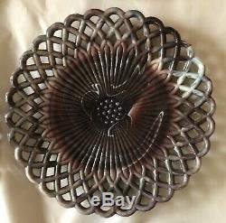 Purple Marble Slag Glass Dinner Plates 10 Lattice Set Of 6 Vintage