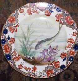 RARE 1830's Copeland & Spode Fish Platter Set w NINE Matching Dinner Plates 9