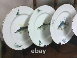 RARE Richard Ginori Antinea Quenelle Fish Plates & Platter set of 7 NEVER USED