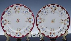 RARE SET OF 12 c1830 RIDGEWAY EARLY ENGLISH PORCELAIN PUCE GROUND DINNER PLATES