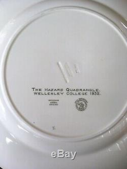 RARE Set Of 12 Wedgwood Wellesley College Green & White Dinner Plates Dated 1932