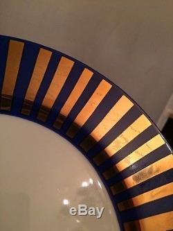 RARE Vintage 1977 Fitz & Floyd Set of 6 Dinner Plates Blue & Gold Tutankhamun