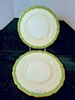ROSENTHAL IVORY 10 Dinner Plates Gold Encrusted CORONATION Green Band SET 11