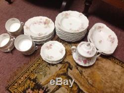 ROYAL AUSTRIA 56 PC DISH SET DINNER + SALAD PLATES BOWLS CUPS PINK ROSES China