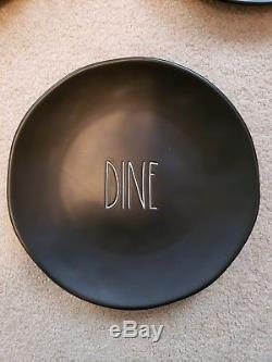 Rae Dunn Brand New Set Of six Black DINE dinner Plates