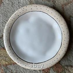 Rae Dunn RARE 2003 Saks Fifth Avenue Plates Vintage Dimpled Set/4 Polka Dots 6