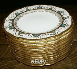 Rare Coalport England Bone China Enamel Beading Set 12 Dinner Cabinet Plates