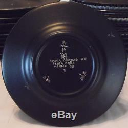Rare Emilia Castillo Silver Jaguar Black Dinner Set Porcelain Plates Cup Saucer