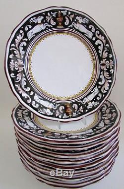 Rare Italian Majolica Cama Deruta SIENNA Sitting Deer 11 Dinner Plates Set 10