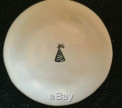 Rare Rae Dunn Magenta Vintage Celebrate Dimpled Cake Plates Complete Set 6