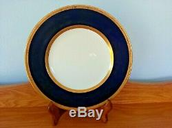 Rare Royal Worcester Cobalt Blue And Gold For Macy & Co Set Of 10 Dinner Plates