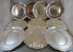 Rare Set Of 10 Matching German Sterling (. 830) Dinner Size Plates! 161 Oz! 11
