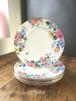 Rare Vintage Set Of 6 Royal Albert China Beatrice Gilded Floral Dinner Plates