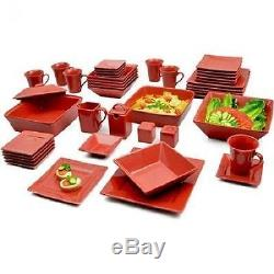 Red Dinnerware Set 45 Piece Square Banquet Plates Dishes Bowls Kitchen Dinner