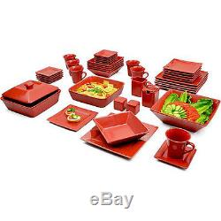 Red Dinnerware Set Square Kitchen Banquet 45 Piece Dinner Plates Cups Dishes